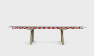 "the ""Stripes"" table is the Limited Edition of the Tracks table with the red and white stripes."