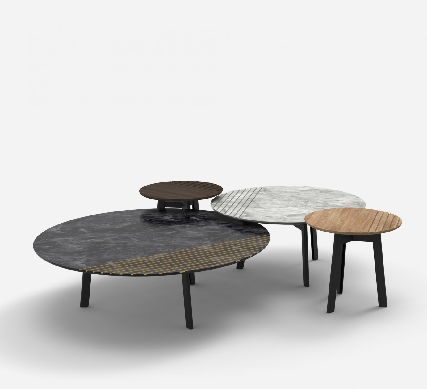 GROOVE Alain Gilles - Marble and wood side table