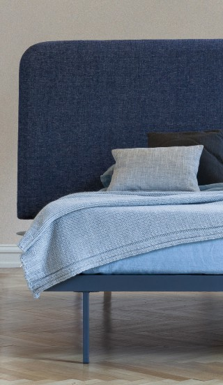 but the headboard can also be treated with more standard fabric, as shown here.