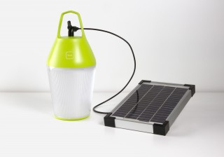 the lamp plugged to the solar panel when in charging mode.