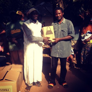 Handing out 40 free lamps in Guinea, West Africa.