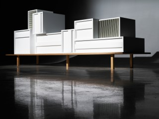 as if a classic modernist sideboard had been exploded by functions and then reasembled.