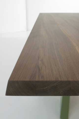 massive wooden table top detail.