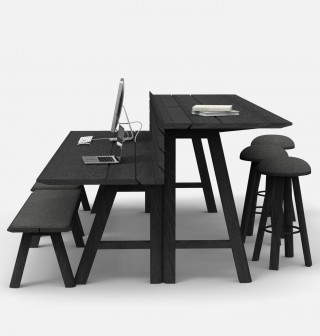 "The ""Split-Level"" version of the BuzziPicnic table enables people to work on two different levels around a same common table."